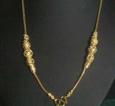 "Sale 24.4"" gold bead  thai style 18K gold plated necklace 08"