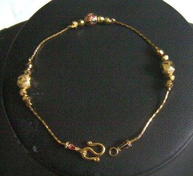"""6.8"""" lovely enamel bead bangle 24K gold filled bracelet 116"""