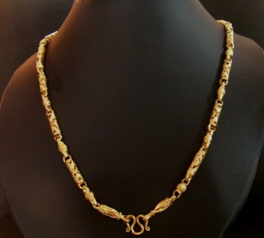 "24.2"" fret sand rod 24K gold filled necklace 117"