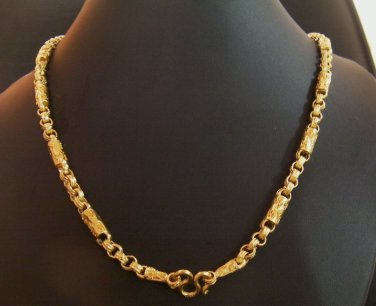"26.6"" fret rod & chain 24K gold filled necklace 119"