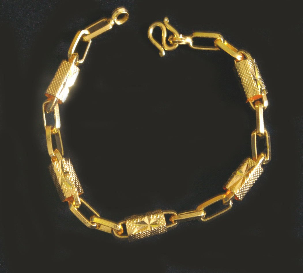 "7.7""chain&bead 24K gold filled bracelet bangle 73"