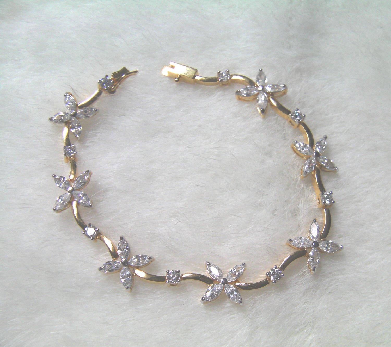 """7""""nice flower string cz 24K gold filled bracelet 15"""