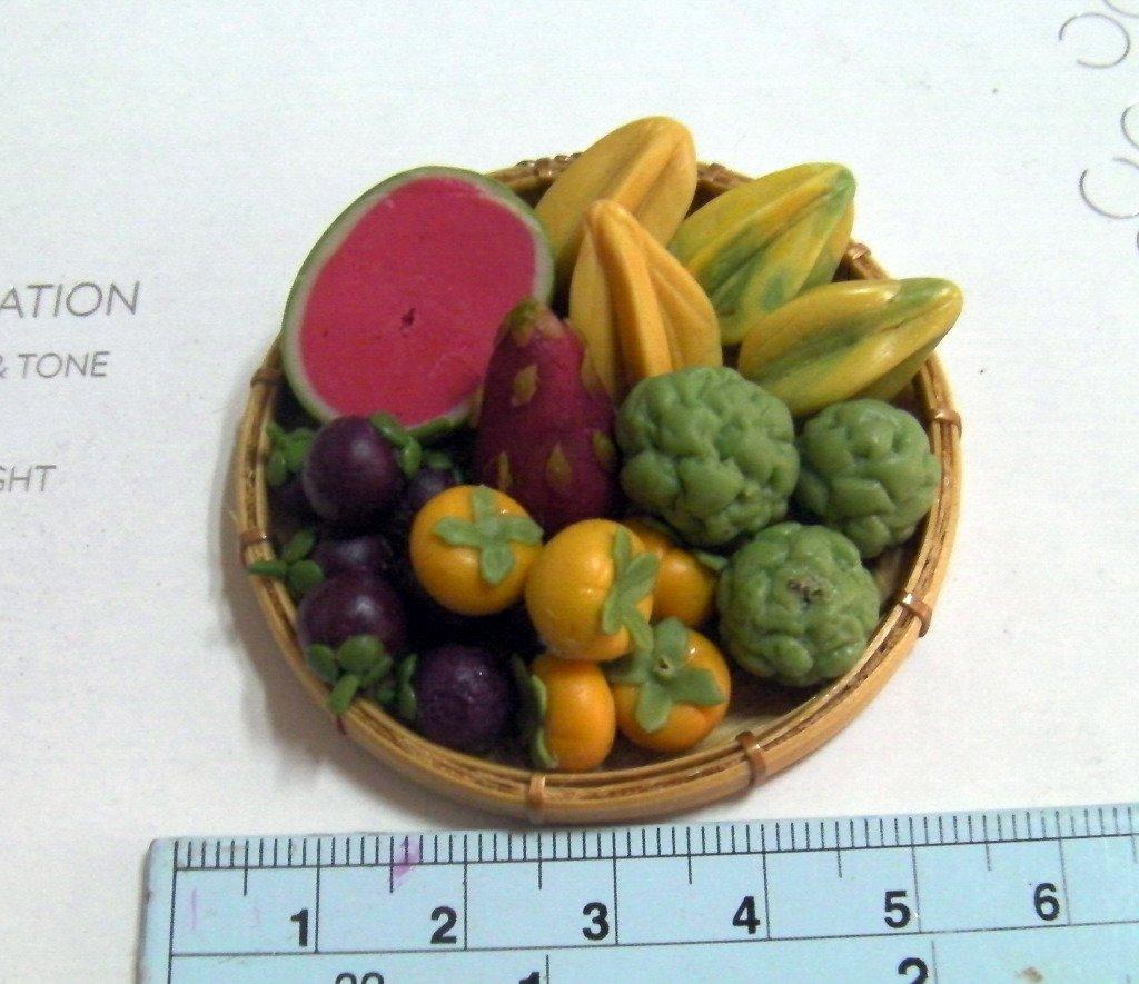 handmade miniature fruit in basket set 2 (not glued)
