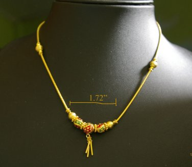 "16.4"" sweet enamel bead 24K gold filled necklace 18"