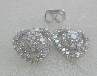 beautiful heart cz 24K white gold filled earrings 37