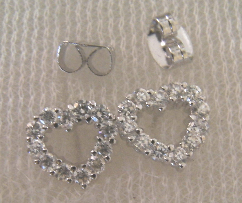 lovely cz heart 24K white  gold filled earrings 021