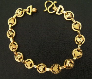 7.3 Inch sand and shinny heart unique pattern 24K gold filled bracelet 120