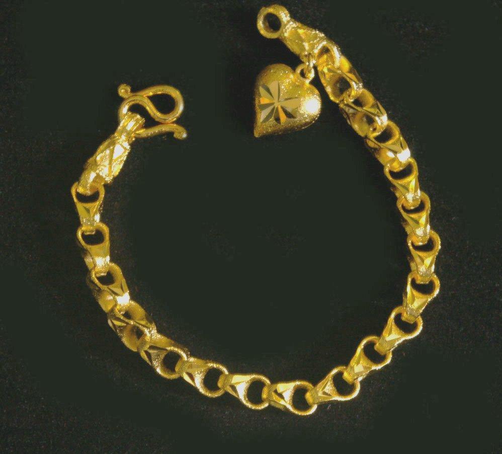 """6.5"""" chain heart 24K gold filled bracelet bangle 98"""