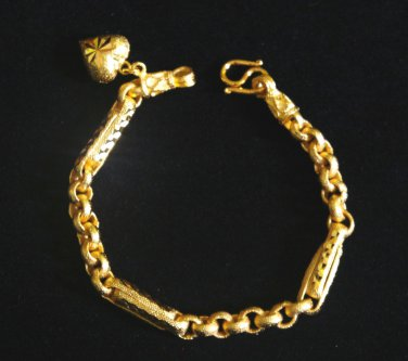 6.8 Inch sand chain and rod with heart 24K gold filled bracelet 46