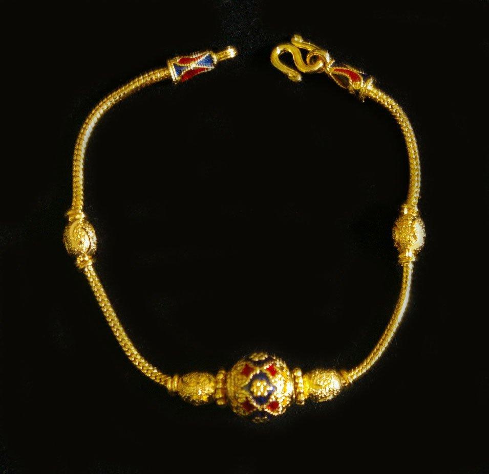 6.8 Inch nice and neat enamel 24K gold filled bracelet 56