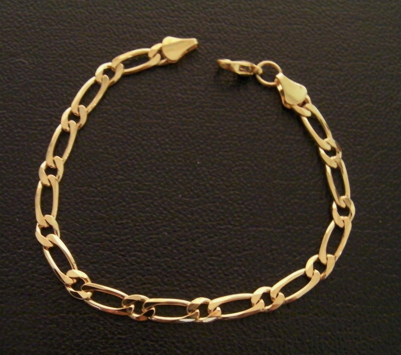 7 Inch figaro chain 24K gold filled bracelet 126