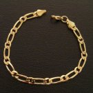 7 Inch figaro chain 24K gold filled bracelet 126