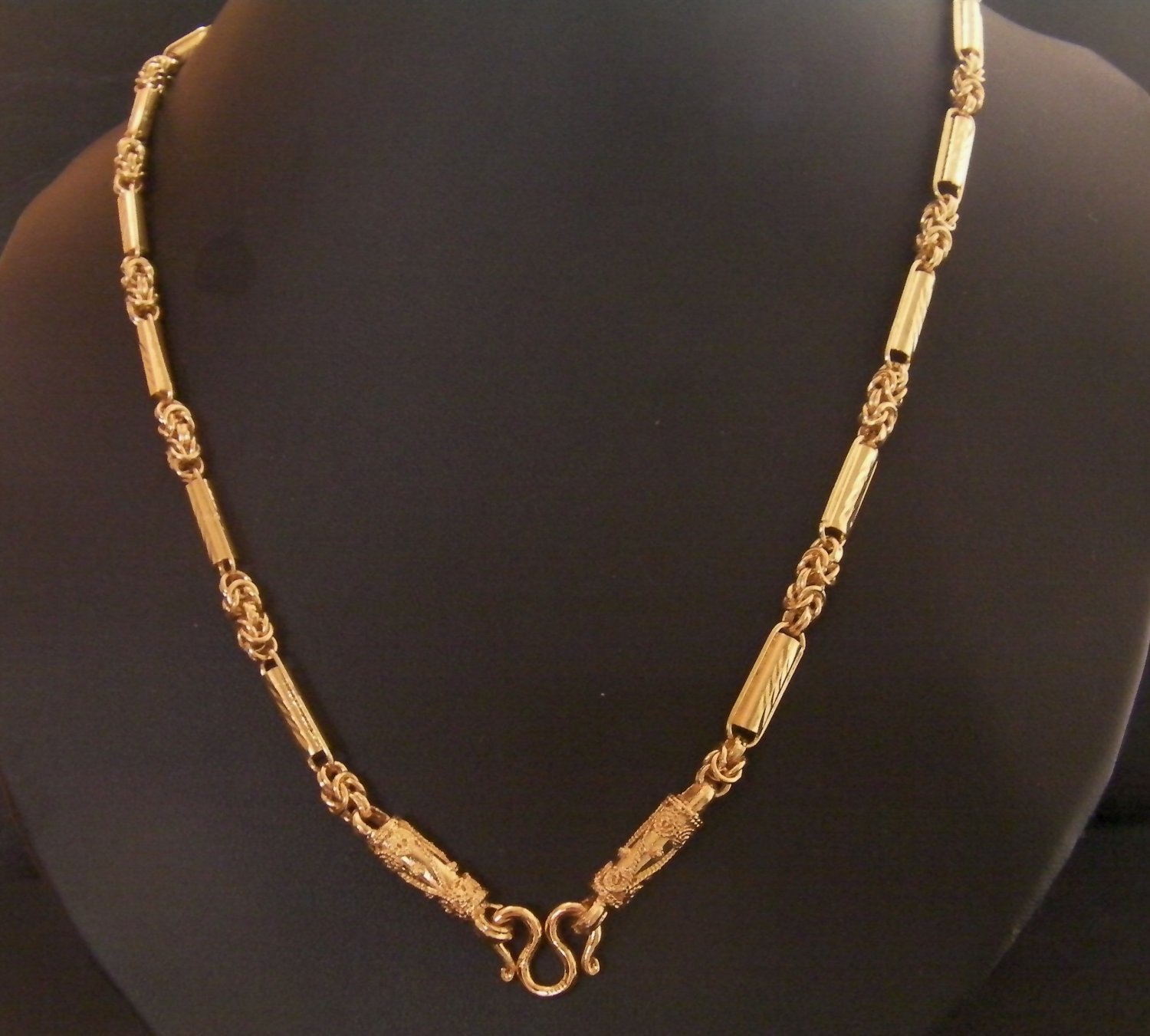26 Inch attractive chain and rod 24K gold filled necklace 112