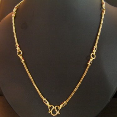 25.2Inch very neat unique thai style 100% 24K gold filled necklace 121