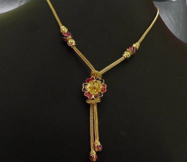 "18.2"" enamel pattern handmade 24K gold filled necklace 131"