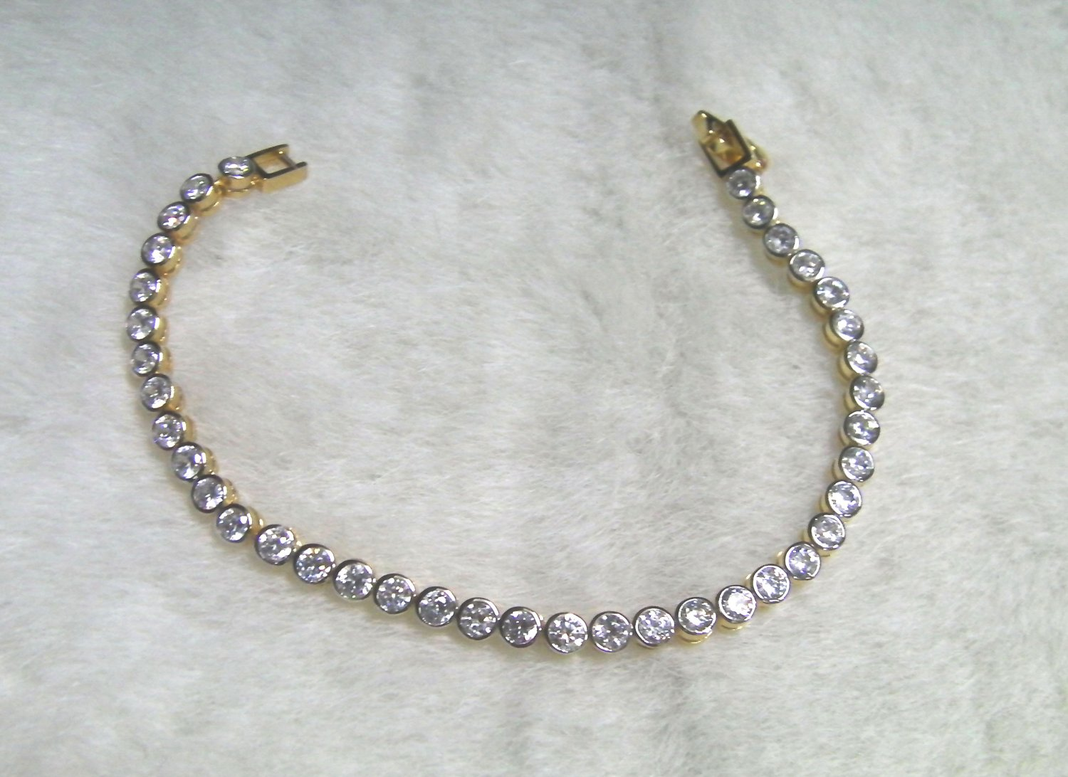 "6.6"" graduated round cz string 24K gold filled bracelet 06"