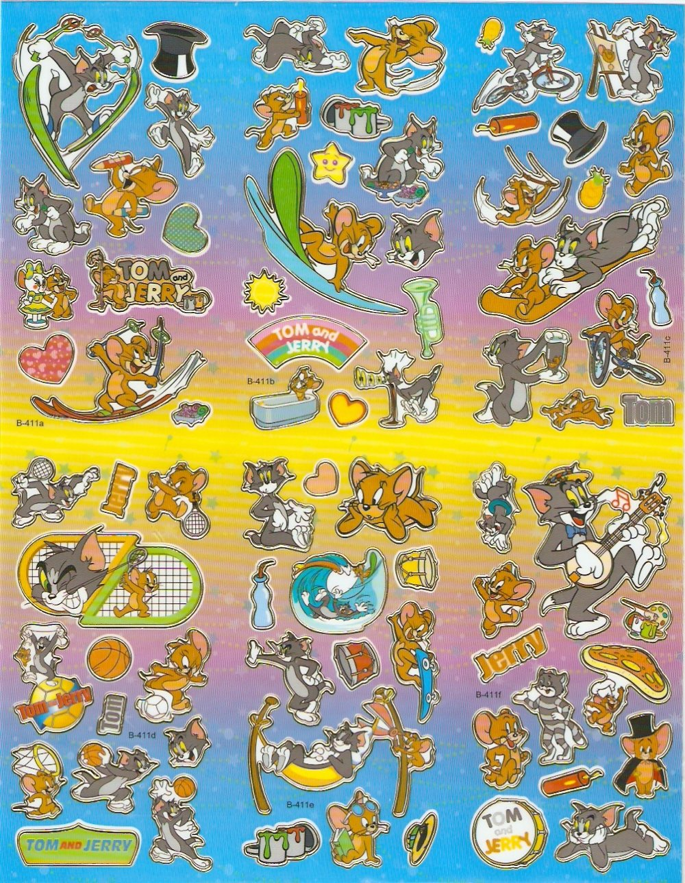 10 Big sheets Tom and Jerry Sticker Buy 2 lots Bonus 1 #B411
