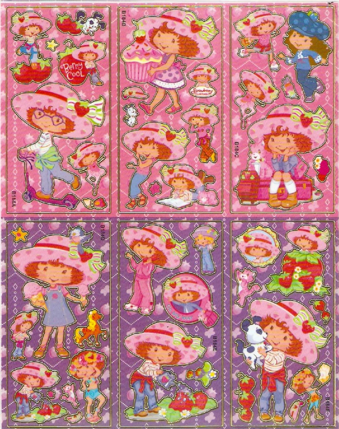 10 Big sheets Strawberry Shortcake Sticker Buy 2 lots Bonus 1#b184