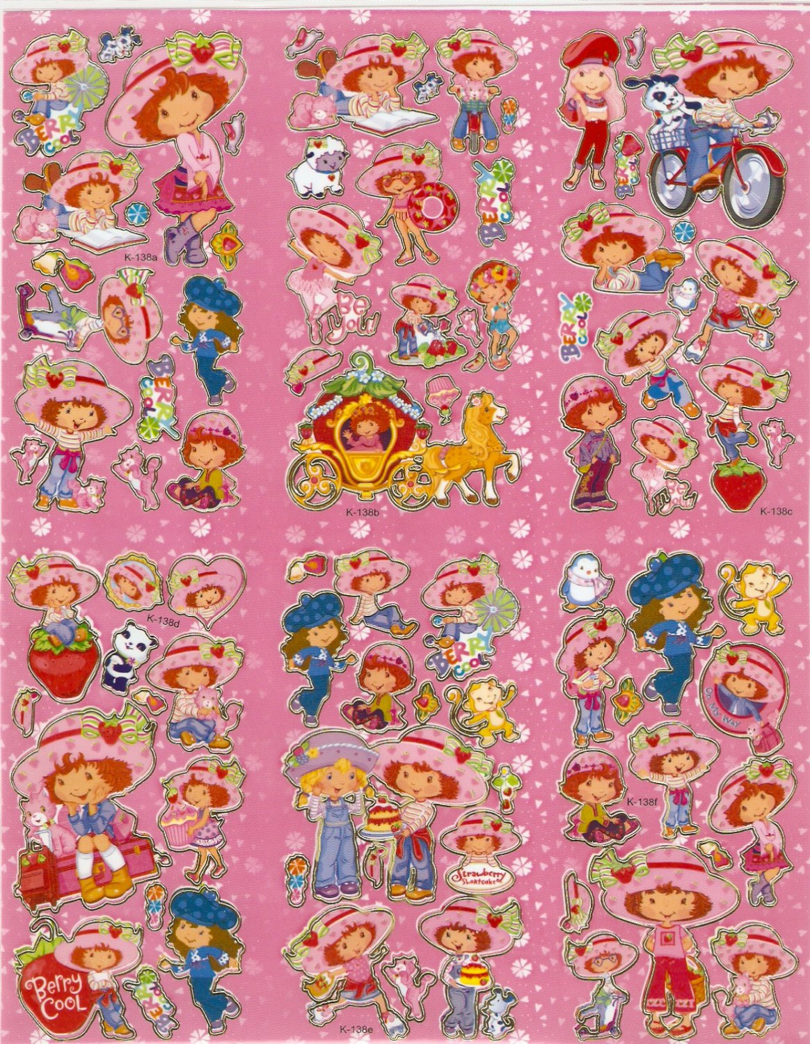 10 Big sheets Strawberry Shortcake Sticker Buy 2 lots Bonus 1#K138