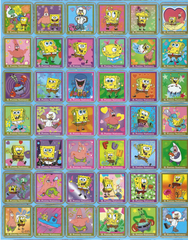10 Big sheets Sponge Bob Sticker Buy 2 lots Bonus 1 #C115