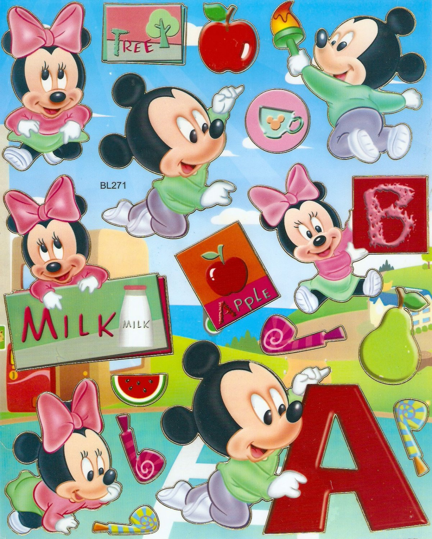10 Big sheets Baby Mickey Sticker Buy 2 lots Bonus 1 #bl271