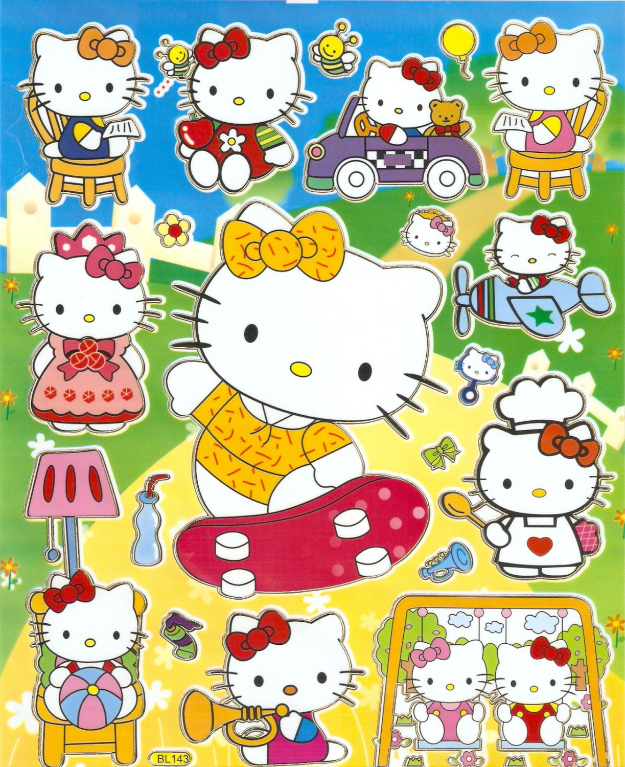 10 Big sheets Hello Kitty Sticker Buy 2 lots Bonus 1  #HK BL143