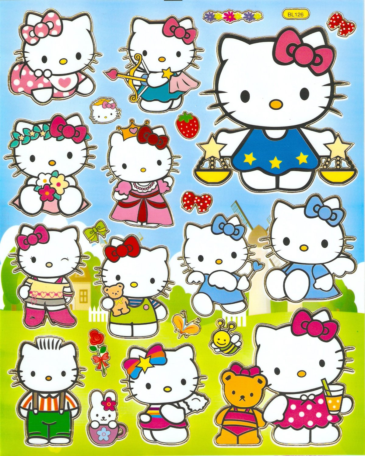 10 Big sheets Hello Kitty Sticker Buy 2 lots Bonus 1  #HK BL126