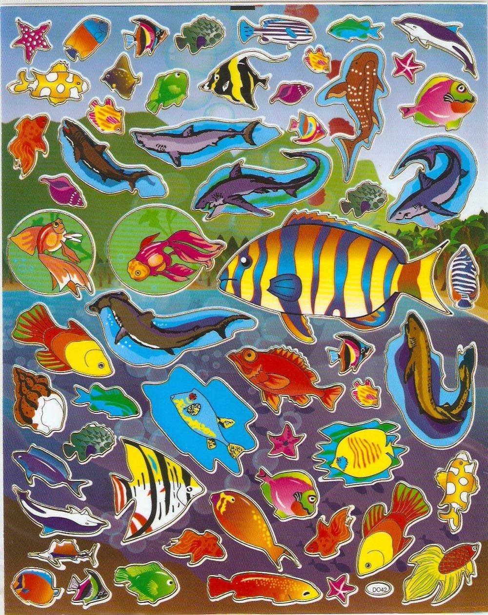 10 Big sheets Fish Sticker Buy 2 lots Bonus 1#FSH D042