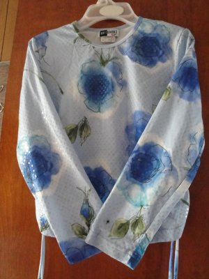 FREE SHIPING GLTTERY WHITE &SKY BLUE GIRLS BLOUSE WITH SEQUIN  SIZE MEDUIM