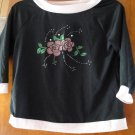 FREE SHIPING BLACK WITH SEQUIN GIRLS T-SHIRT SIZE 10-12 MEDUIM MADE IN USA