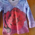 FREE SHIPING BLUE WITH RED FLOWER & SEQUIN GIRLS T-SHIRT V-NECK