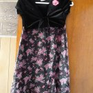 FREE SHIPING FASHIONABLE BLACK VELVET & ROSE CHIFFON GIRLS DRESS WITH ATTATCHED CUTE SHORT JACKET