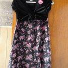 FREE SHIPING FASHIONABLE BLACK VELVET & ROSE CHIFFON GIRLS DRESS WITH ATTATCHED CUTE SHORT JACKET
