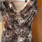FREE SHIPING LIZ CALIBORNE FASHIONABLE BROWN BLOUSE WITH PINK LACE V-NECK