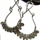 smoky topaz and silver drop wire wrapped earrings