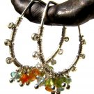 hammered sterling silver modern hoops with peridot, aquamarine and jasper