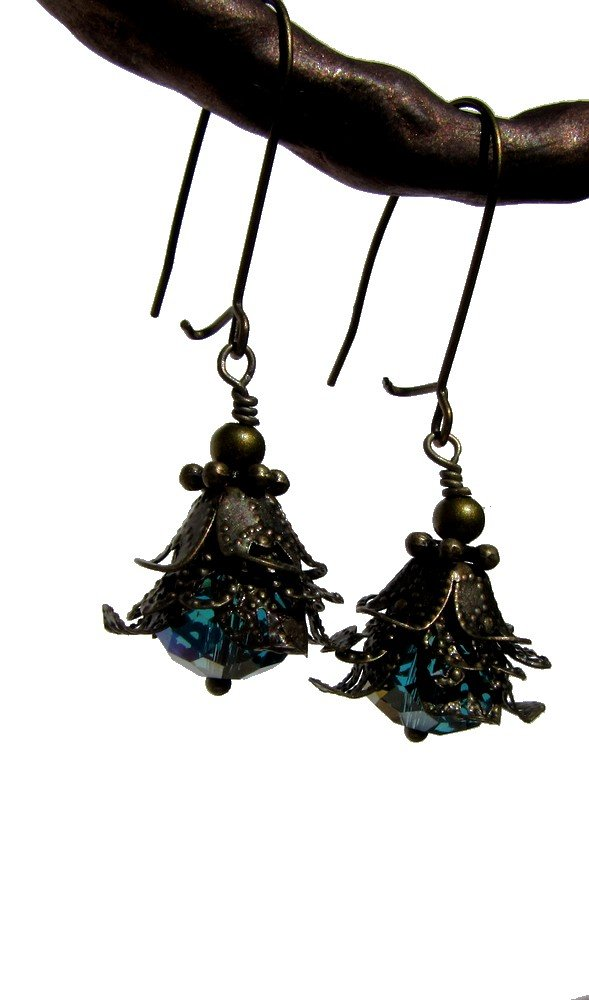 vintage style bronze and faceted Czech glass dangle earrings