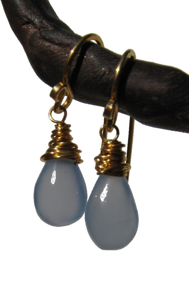 gold fill and blue chalcedony Classic Drop earrings