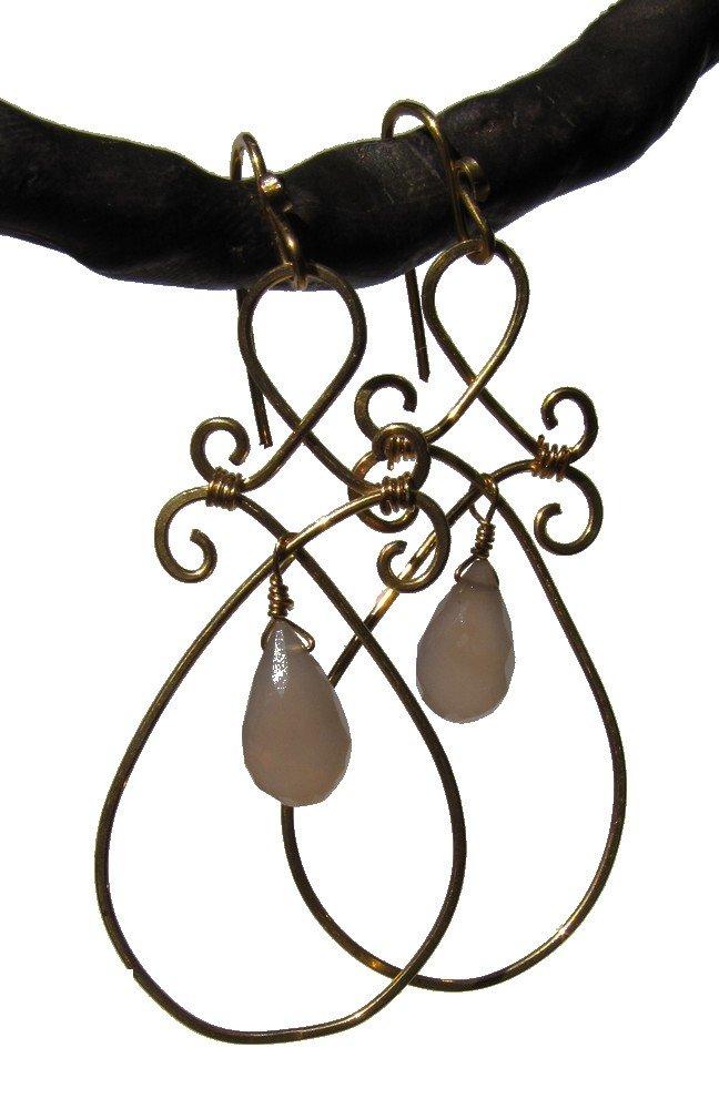 gold fill rose quartz Syrian earrings