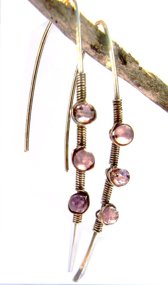 silver and amethyst Blade earrings