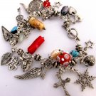 silver mixed media charm bracelet