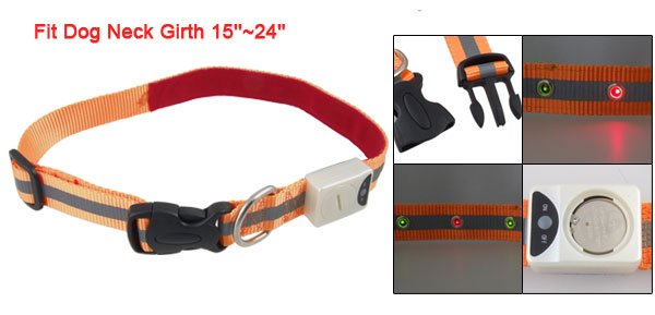 Nylon 6 Red Yellow LED Pet Dog Collar Leashes Strip