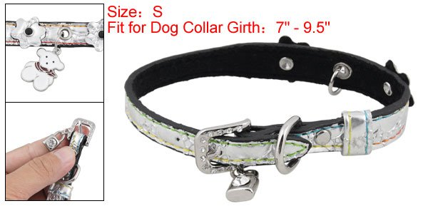 Crocodile Pattern Silver Tone Collar Belt S for Dog Pet
