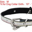Dog Rhinestone Buckle Silver Tone Faux Leather Collar Belt M