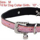 Dog Rhinestone Metal Buckle Adjustable Pink Collar Belt M
