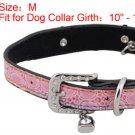 Dog Rhinestone Metal Buckle Adjustable Pink Collar Belt M