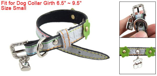 Lock Bear Pendant Charms Crackle Print Adjustable Dog Collar Gray S