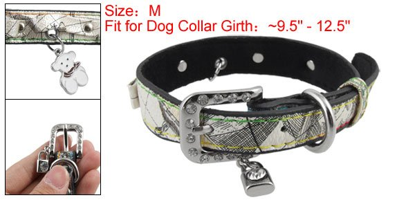 Lock Bear Charms Faux Leahter Pet Dog Collar Neck Strap M