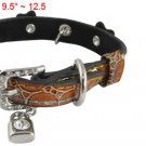 Brown Crocodile Print Rhinestone Flower Lock Bear Charms Dog Collar S