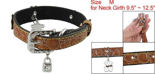 Brown Alligator Print Rhinestone Faux Leather Dog Collar M
